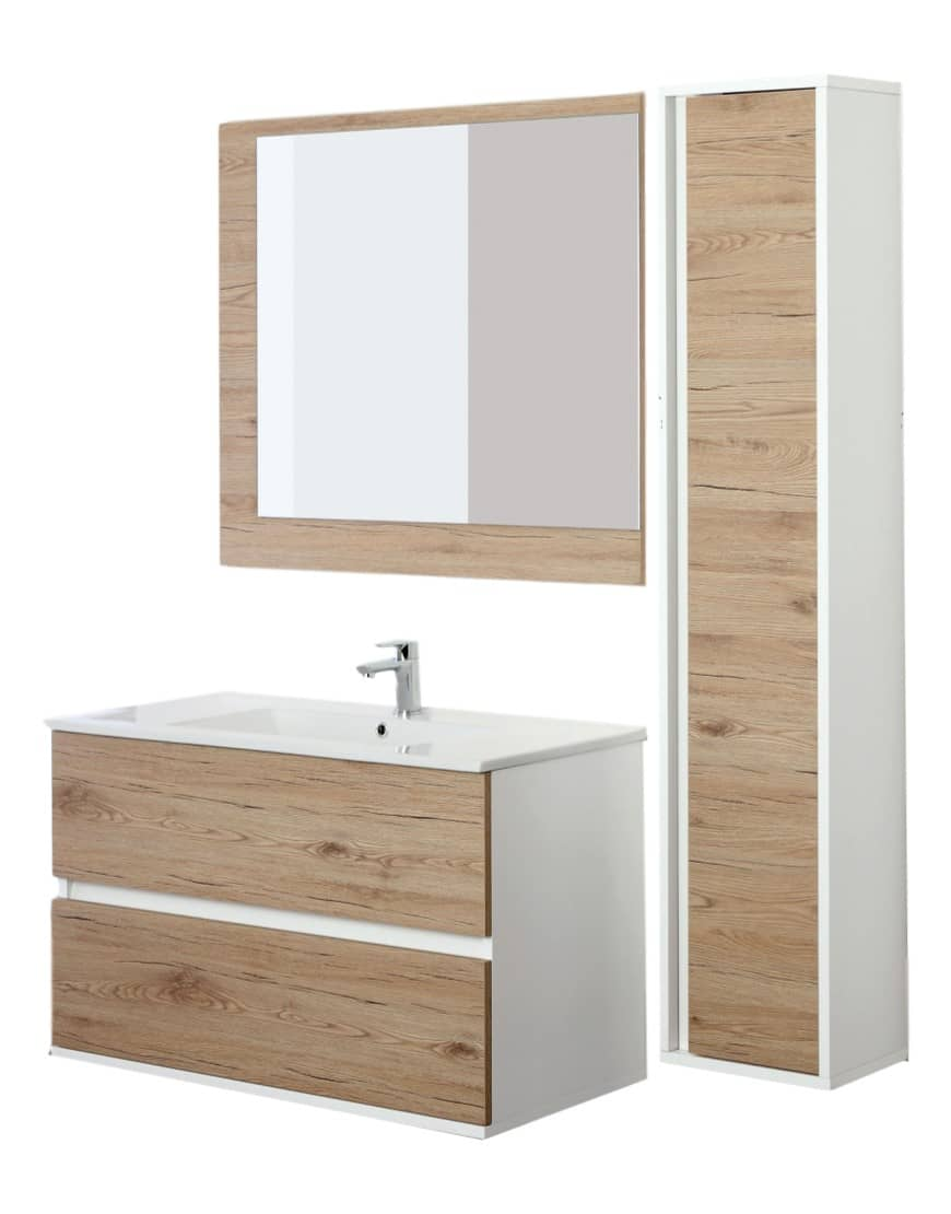 Mobilier de baie suspendat cu coloana Fabula 90cm casamia 2021